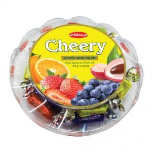 Kẹo mềm Cheery hộp nhựa Tròn đế tầng 150 gam