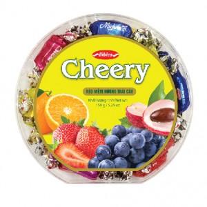 Kẹo mềm Cheery hộp nhựa Tròn vạt góc 150 gam