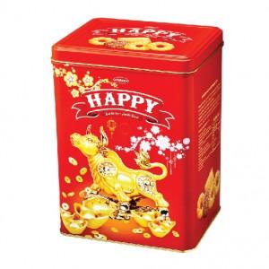 Bánh hỗn hợp hộp thiếc Happy Trâu Vàng 600 gam
