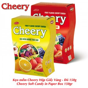 Kẹo mềm Cherry hộp Giấy Vàng - Đỏ 150 gam